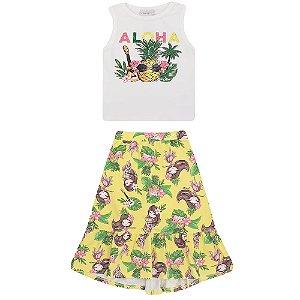 Conjunto Infantil Momi Blusa e Saia Longa Aloha - Amarelo