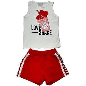 Conjunto Infantil Momi Blusa e Shorts Love Shake - Vermelha