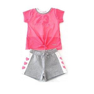 Conjunto Infantil Momi Blusa e Shorts Neon - Rosa
