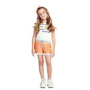Conjunto Infantil Momi Blusa e Shorts Paetes - Laranja