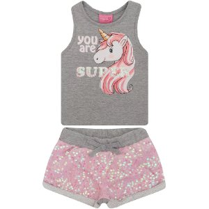 Conjunto Infantil Momi Blusa e Shorts Paetes - Rosa