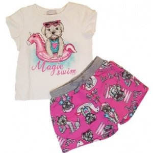 Conjunto Infantil Momi Blusa e Shorts Saia Dog - Rosa