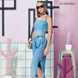 Cropped Jeans com Listras - Authoria
