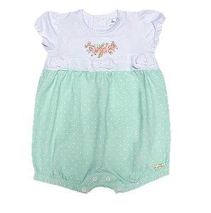 Macacão de Bebê Curto Poa Verde Regata Cotton - Petit