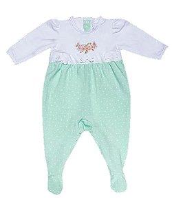 Macacão de Bebê Poa Verde Manga Longa Cotton  - MINI SAILOR