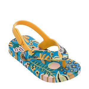 Mini Melissa + Ipanema Chinelo Flip Flop Amarelo e Azul - Melissa