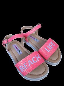 Sandália Beach Life Rosa Neon com Glitter - Menina Rio