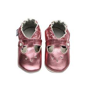 Sapatinho de Bebê Menina Babu Uabu Boneca Metalizado - Rosa