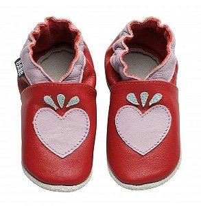 Sapatinho Pantufa Coração Coral - Babo Uabu