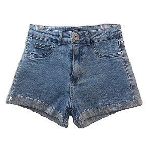 Shorts Jeans Infantil Feminino Authoria com Barra Dobrada -