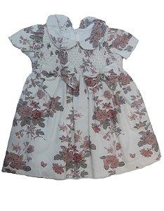 Vestido de Bebê com Pérolas e Flores Marfim - roana