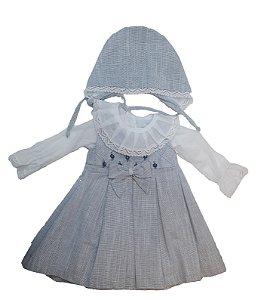 Vestido de Bebê Laço com Touca Azul - roana