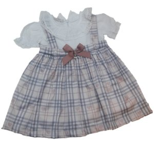 Vestido de Bebê Laço Rosa Xadrez - roana