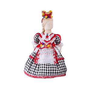 Vestido de Festa Junina Infantil - Xadrez Preto com Bordado Inglês