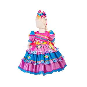 Vestido de Festa Junina Infantil Margaridas