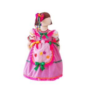 Vestido de Festa Junina Infantil Rosa com Flores