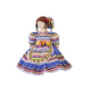 Vestido de Festa Junina Infantil Xadrez Azul