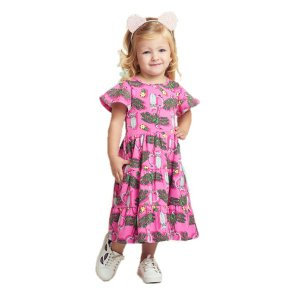 Vestido Infantil Momi Cotton Tropical - Rosa
