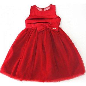 Vestido Infantil Momi de Festa com Tule - Vermelho