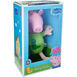 Pelúcia George Pig Cabeca De Vinil com Pijamas - Peppa Pig