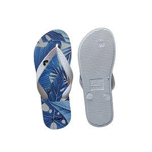 Chinelo Infantil Wave Folhas Azul e Branco