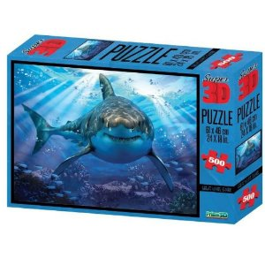 Quebra Cabeça Super 3D Puzzle Tubarão Multikids 500 Peças