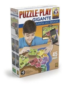 Quebra-Cabeça Puzzle Play Grow 45 peças Mapa do Brasil Gigante