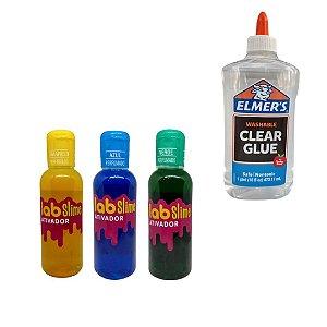 Kit Slime com Cola e Ativador Lab Slime - Cola Elmer's - Amarelo - Azul - Verde
