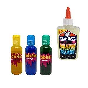 Kit Slime Brilha no Escuro com Cola e Ativador Lab Slime - Cola Elmer's - Amarelo - Azul - Verde