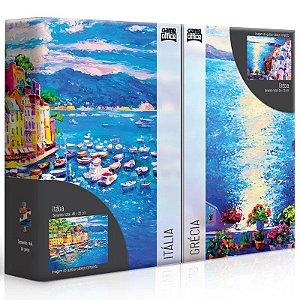Conjunto de 2 Quebra-Cabeças Puzzle Game Office 500 Peças Litorais Europeus: Grécia e Itália