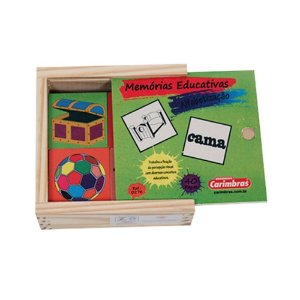Memória de Alfabetização 40 peças em Madeira Carimbras - Brinquedo Educativo em Madeira