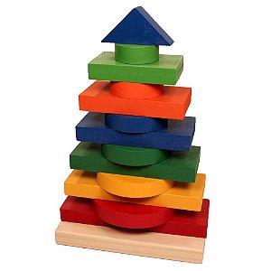 Torre Multiformas 13 Peças em Madeira Carimbras - Brinquedo Educativo em Madeira