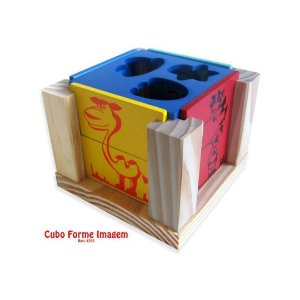 Cubo Forme Imagem em Madeira Carimbras - Brinquedo Educativo em Madeira
