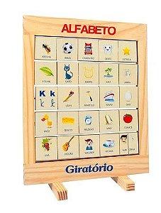 Brinquedo Educativo em Madeira Alfabeto Giratório