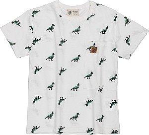 Camiseta Youccie Malha Digital Dino I0046 Branco