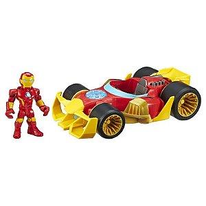 Mini Boneco Homem de Ferro e Carro Super Hero Adventures