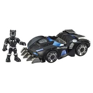 Mini Boneco Pantera Negra e Carro Super Hero Adventures