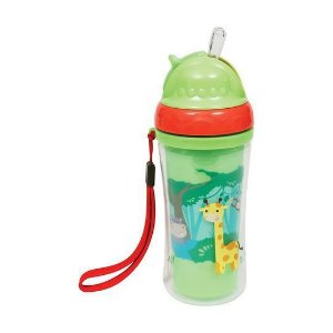 Copo Infantil Parede Dupla com Canudo Animal Fun Buba Verde