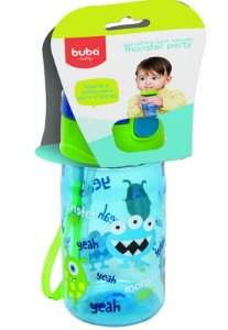 Garrafinha Infantil Com Canudo Monster Party Buba Azul
