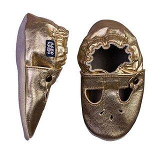 Sapatinho Infantil Babu Uabu Pantufa Boneca - Dourado
