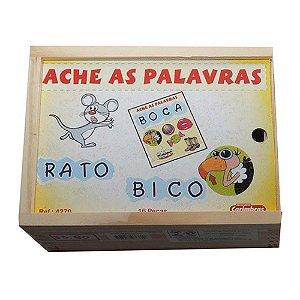Jogo Ache as Palavras Carimbras - Brinquedo Educativo em Madeira