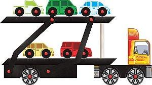 Brinquedo de Madeira Caminhão Cegonha Carimbras - Brinquedo Educativo em Madeira