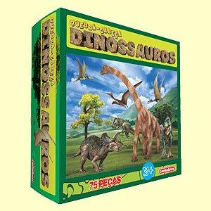 Quebra-Cabeça Dinossauros 75 Peças Carimbras - Brinquedo Educativo em Madeira