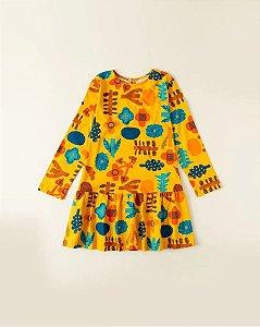 Vestido Infantil Fábula Manga Longa Malha Maia Amarelo