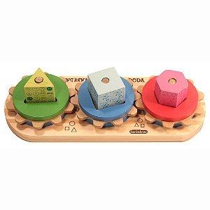 Brinquedo de Madeira Engrena Roda Carimbas - Brinquedo Educativo em Madeira
