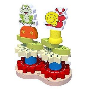 Brinquedo de Madeira Torre Decorada Carimbras - Brinquedo Educativo em Madeira
