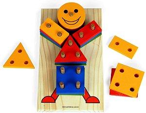 Brinquedo de Madeira Boneco Geométrico Carimbras - Brinquedo Educativo em Madeira