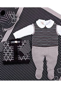 Conjunto Saída de Maternidade Cinza e Branco 10003