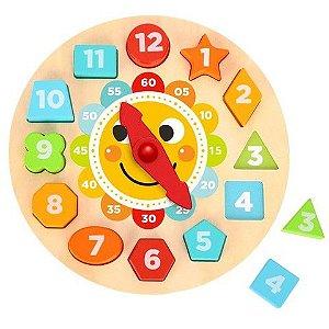 Relógio de Encaixe Infantil do Solzinho - Brinquedo Educativo em Madeira