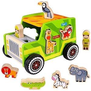 Carrinho Jipe Safari - Tooky Toy - Brinquedo Educativo em Madeira
